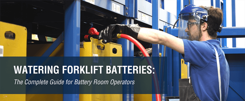 Forklift battery watering system